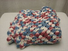 Hand Made Custom Knitted Blanket 44 X 36 Maroon White Blue Color Design