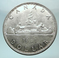 1961 CANADA UK Queen Elizabeth II Canoe Crew Large SILVER Dollar Coin i80761