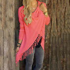New Womens Long-Sleeve Knitted Cardigan Loose Sweater Outwear Jacket Tassel Coat