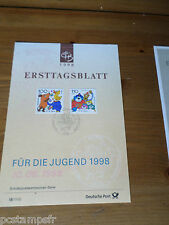 ALLEMAGNE 1998, RFA, FDC, PERSONNAGES BD, TP 1822 1825, DOCUMENT 1° JOUR