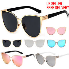 Womens Oversized Large Cat Eye Butterfly Sunglasses Flat Lens UV400 Mirrored
