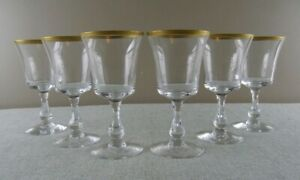 "Fostoria Richmond (6) Claret Wine Glasses 6"" Gold Trim Rare"