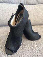 Michael Kors Black Peeptoe Boots UK 5.5 excellent condition elaticated Heel Fur