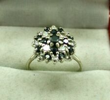 Beautiful Large 18ct White Gold Gold Sapphire And Diamond Cluster Dress Ring