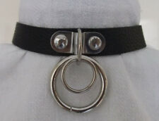 Black Faux Leather Double Ring Dog Collar Buckle Choker - Punk Goth Fetish Slave