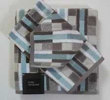 Hotel Vendome Geometric Striped Bath Towels Medium Aqua/Gray/White 3 Pc Set New
