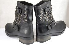Barneys NY MADE IN ITALY BLACK LEATHER STUD WOMEN BIKER RIDING BOOTS EU 41 US 11