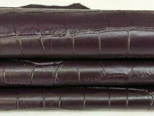 PLUM CROCODILE TEXTURE soft Italian Lambskin leather skins 8sqf 0.7mm #A7376