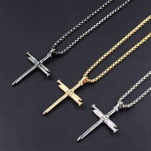 "Boys Mens Stainless Steel Vintage Cross Pendant Necklace Men Women Silver 22"""