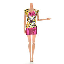 1 Pcs Fashion Sexy Dress Leopard Cat Skirt For Barbies Doll with Bowknot MD Tb