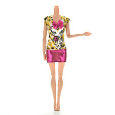 1 Pcs Fashion Sexy Dress Leopard Cat Skirt For Barbies Doll with Bowknot U2