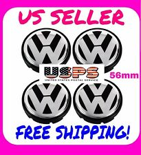 VOLKSWAGEN CENTER CAPS VW 56mm Beetle, Jetta, Golf and More Black/Chrome 4x