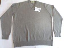 "Glen Oak Scotland V Neck 3 Ply pure cashmere sweater jumper top 48"" Grey green"