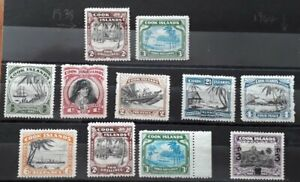 Cook Islands Stamps. 1938-1946 Selection of 11 mounted mint stamps.