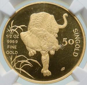 1986 SM SINGAPORE Lunar Series - TIGER Vintage Gold 50 Singold Coin NGC i86540