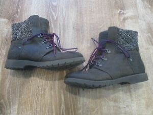 The North Face Icepick Women Boots Size 7.5 Leather Brown Gray Tweed Purple EUC