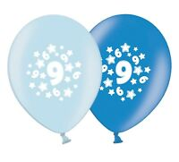 "number 9 - stars -  12""  Blue Assortment Latex Balloons pack of 8"