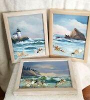 THREE AWESOME Original Oil Paintings OREGON COAST 3 Dimensional GAIL ANN