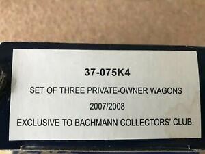 3 x Bachmann Private owner Wagons 37-075K4 Collectors Club OO Gauge Unused