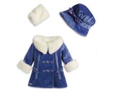 American Girl Rebecca Beforever Winter Jacket Coat Blue Purple Muff Hat Coat-NIB