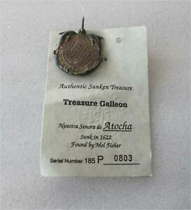 Atocha Sunken Treasure Galleon Silver Cob Coin Pendant, Silver bar Certificate