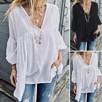 Women Puff Sleeve Shirt Ladies Plus Size Polka Dot Ethnic Top Blouse Tunic 8-24