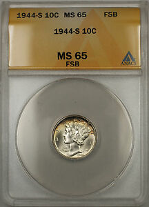 1944-S Silver Mercury Dime 10C ANACS MS-65 Full Split Bands (Light Toning 11)