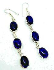 Gorgeous Purple Amythyst Long Drop Dangle Earrings Hook Fastening Silver Plated
