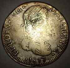 """ZACATECAS MEXICO EIGHT 8 REALES 1817 A.G. SILVER COIN CRUDE STYLE """"DEIGRATIA"""""""