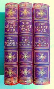 THE GREAT WAR by WINSTON CHURCHILL. 3 VOLUME SET WELL ILLUSTRATED, MAPS
