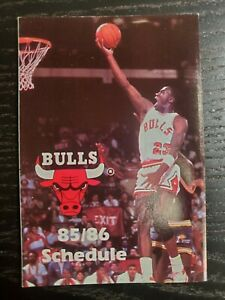 1985-86 Chicago Bulls Pocket Schedule, pre-RC, Michael Jordan, 🔥
