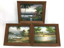 Lot of 3 Wood Framed Asian Scenery Oil on Board Ocean Shack Palm Trees Signed