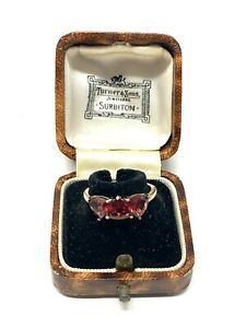 Brilliant Vintage Sterling Silver 925 Garnet Three Stone Ring Size O #874