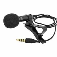 3.5mm Jack Clip-on Lapel Mini Lavalier Microphone Mic For Phone Recording PC USA