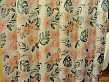 new~fabric SHOWER CURTAIN~Rosa Palm~Tropical Flowers Green Peach Caribbean Joe