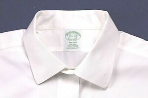 "BROOKS BROTHER DRESS SHIRT size 15.5-33 classic white NO IRON cotton ""Milano"""