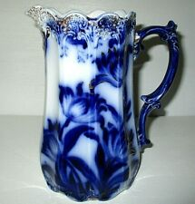 """LOVELY"" VINTAGE FLOW BLUE LARGE HAND PAINTED PITCHER, circa late 1800's"
