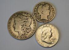 THREE OLD 90% SILVER COINS ~ MORGAN DOLLAR, BARBER HALF, FRANKLIN HALF