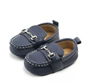 Baby Faux Leather Loafers Baby Shoes Newborn First Walker Soft Soled (Navy Blue)