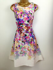 Marks and Spencer Skater Dress UK Size 12 Womens White Pink Blue Floral