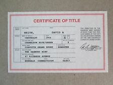 Danbury Mint Paperwork 1964 Chevy Corvette Grand Sport Roadster