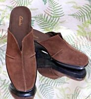 CLARKS BROWN LEATHER MULES SLIDES LOAFERS WORK DRESS HEELS SHOES WOMENS SZ 7.5 M