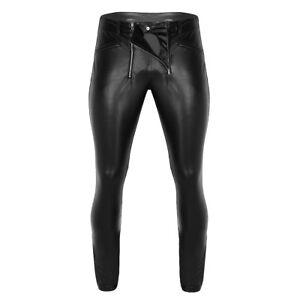 Herren Leggings Hose Glanz Wetlook Tight Pants mit Reißverschluss Schwarz M L XL