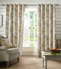 Sage Green Floral Eyelet Fully Lined Ready Made Curtains Pair