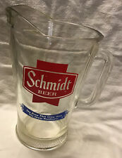 """Vintage Glass Schmidt Beer Pitcher 9"""" Tall 7 1/4"""" Handle To spout"""