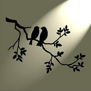 Shabby Chic Stencil 2 birds in tree Rustic Mylar. Vintage style A5 148x210mm
