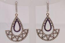 Turkish Handmade Jewelry Round Cut Amethyst Topaz 925 Sterling Silver Earrings