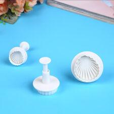 3pcs Plastic Cookie CUTTER Sea Shell Shape Baking Tool Fondant Cake Mold Mould