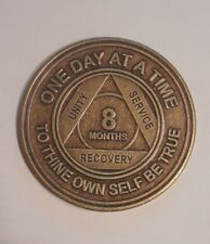 aa alcoholics anonymous 8 months recovery sobriety chip coin token medallion
