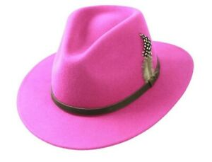 Womens Pink Fedora Hat Trilby 100%Wool Wide Brim Ladies Beloved- iHATS London UK